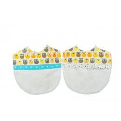 """Bavoirs pour jumeaux & jumelles """"motifs Hiboux"""" jaune blanc et bleu."""