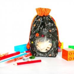 Pochette hublot transparent - noir et orange. Accessoire mode enfant ou femme.