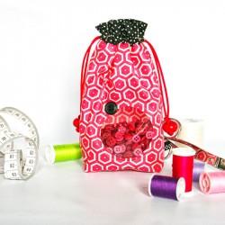 Pochette hublot transparent - rose. Accessoire mode enfant ou femme.