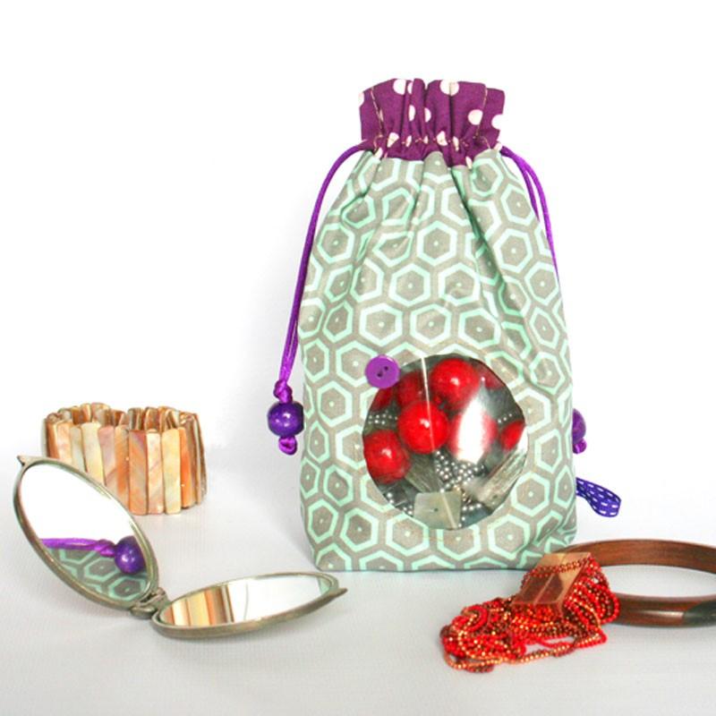 Pochette hublot transparent - verte et rose. Accessoire mode enfant ou femme.