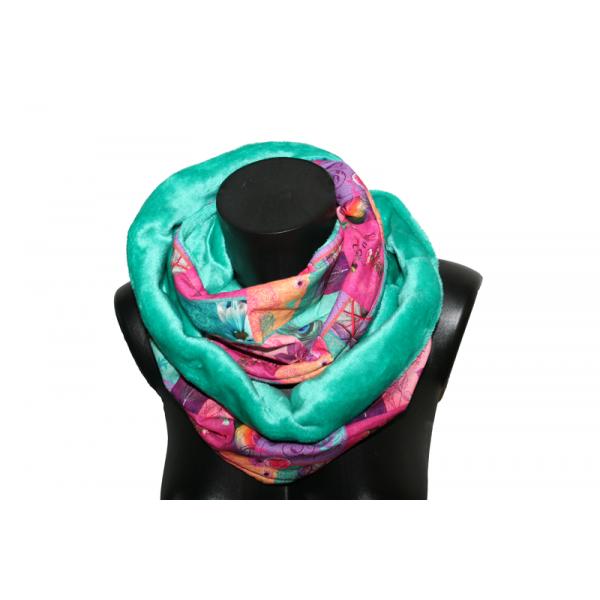Snood double femme - rose et vert 57d2622d406